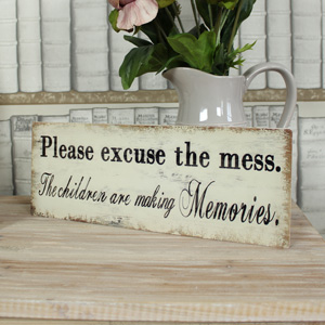 'Please Excuse the Mess' Cream Metal Wall Plaque