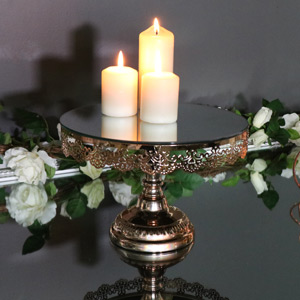 Polished Copper Mirrored Cake Stand