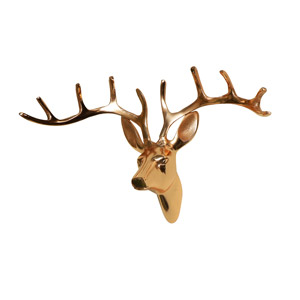 Polished Copper Wall Mounted Stag Head