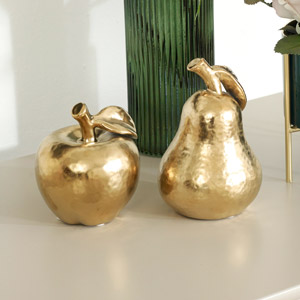 Polished Gold Apple & Pear Fruit Ornaments