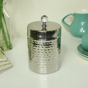 Polished Silver Metal Storage Cannister