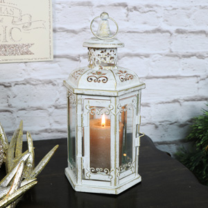 Pretty Antique White Candle Lantern