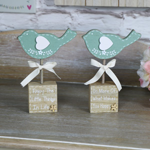 Pretty Dark Green Bird Standing Blocks