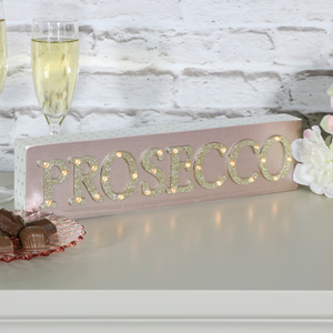 Pretty Pink 'Prosecco' Freestanding Wooden Light Up Plaque
