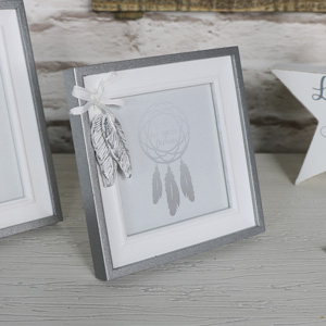 Pretty Silver Square Feather Photograph Frame