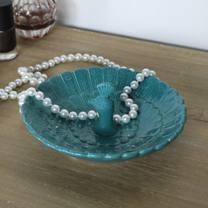 Pretty Teal Peacock Trinket Dish