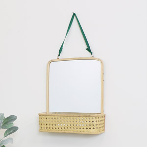 Rattan Mirrored Shelf