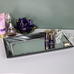 Rectangular Jewelled Mirrored Display Tray