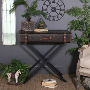 Retro Faux Crocodile Skin Look Console Table