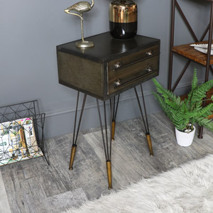 Retro Industrial Metal Bedside Table