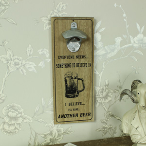 Retro Wooden Wall Mounted Bottle Opener