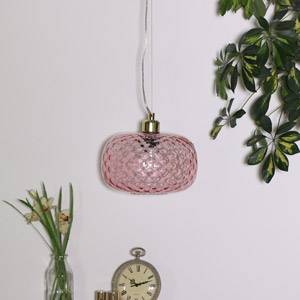 Rose Glass Oval Pendant Light