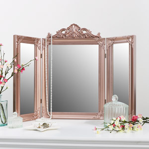 Rose Gold Pink Ornate Dressing Table Triple Mirror