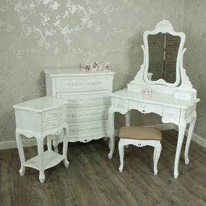White Bedroom Set, Dressing Table Mirror & Stool Set, Chest of Drawers & Bedside Table - Rose Range