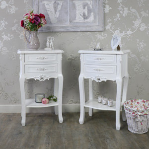 White Bedroom Furniture, Pair of White 2 Drawer Bedside Table - Rose Range