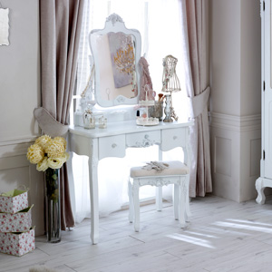 White Dressing Table and Mirror & Stool - Rose Range