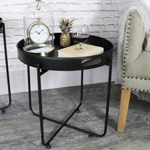 Round Black Side Tray Table