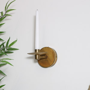 Round Brass Metal Wall Candle Holder