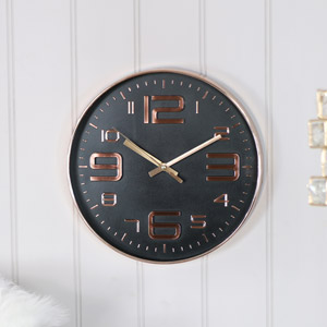 Round Copper Embossed Black Wall Clock