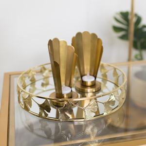 Round Gold Lotus Flower Mirrored Tray