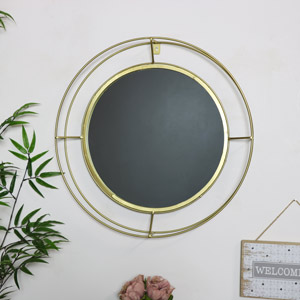 Round Gold Metal Framed Wall Mirror