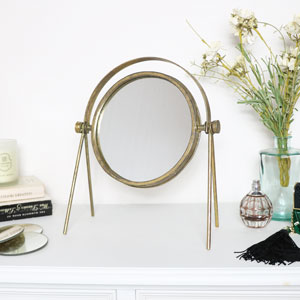 Round Gold Metal Vanity Mirror