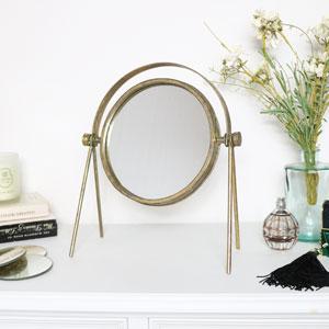 Round Gold Metal Vanity Mirror