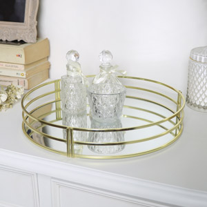 Round Gold Mirrored Tray