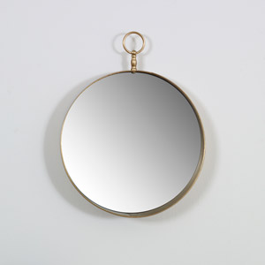 Round Gold Wall Mirror with Fob 43cm x 43cm