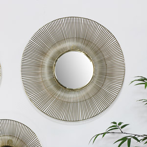 Round Gold Wire Mirror - Large