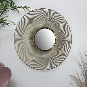 Round Gold Wire Mirror - Medium