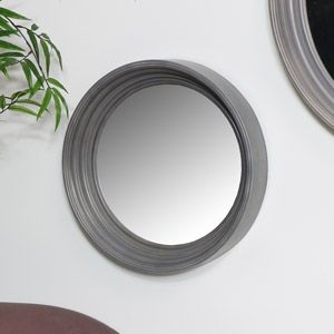 Round Grey Wall Mirror 40cm x 40cm