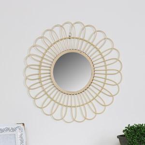 Round Natural Rattan Flower Wall Mirror