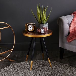 Round Parquet Style Side Table