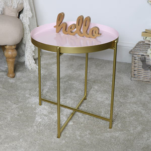 Round Pink & Gold Folding Metal Occasional Table