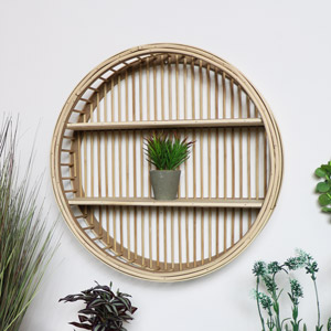 Round Rattan Wooden Shelf