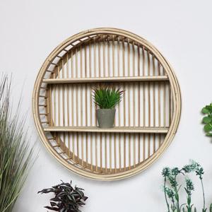 Round Rattan Wooden Shelf