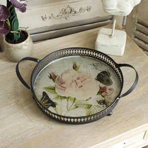 Round Rose Serving Tray