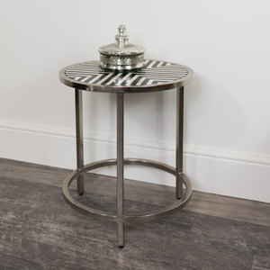 Round Silver Monochrome Side Table
