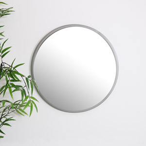 Round Silver Wall Mounted Mirror 50cm x 50cm