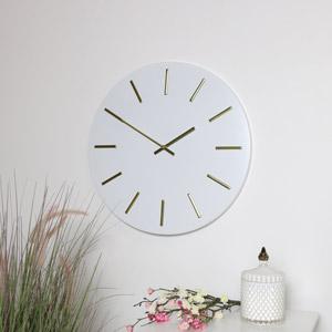 Round White & Gold Wall Clock