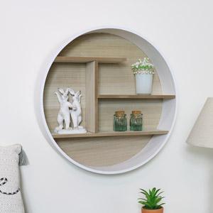 Round White Wooden Shelf Unit