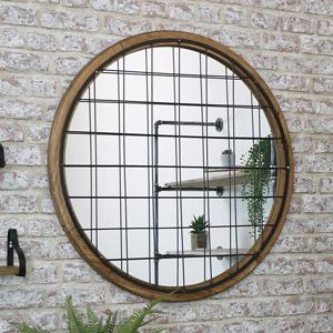 Round Wooden Grid Window Mirror 82cm x 82cm