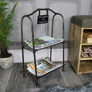 Rustic Antique Bronze 2 Tier Magazine Rack