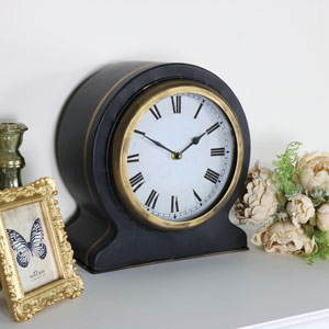 Rustic Black Mantel Clock