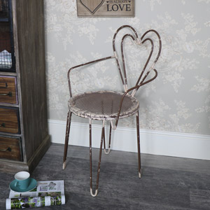 Rustic Cream Metal Heart Backed Chair