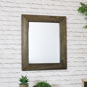 Rustic Wooden Wall Mirror 53cm x 63cm
