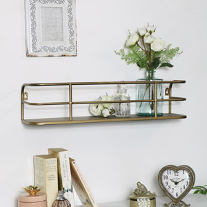 Rustic Gold Metal Wall Shelf