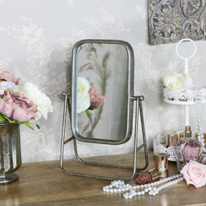 Rustic Grey Bathroom Swing Mirror