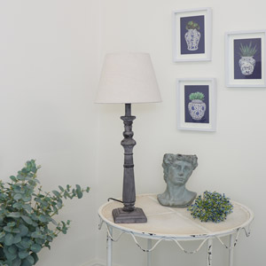 Rustic Grey Column Table Lamp